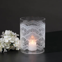 Lace Etched Candle Vase