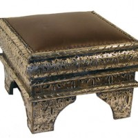 Moroccan Leather Accent Stool