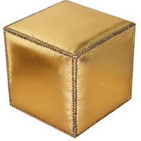 Moroccan Leather Gold Ottoman