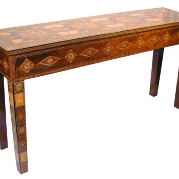 Moroccan Wood Mosaic Console Table