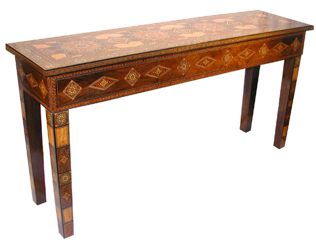 Attractive Moroccan Wood Mosaic Console Table