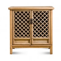 Natural 2 Door Lattice Cabinet