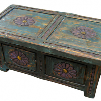 Painted Flower Storage Trunk