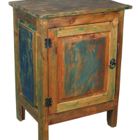Painted Multi-Color Rustic Nightstand