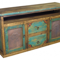 Painted Wood Buffet with Tin Inset Doors