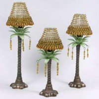 Palm Tree Candle Holders with Beaded Shade