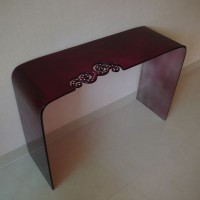 Purple Glass Console Table, inlaid crystals