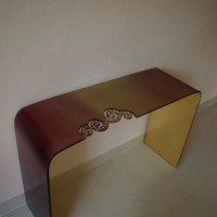 Purple & Gold Glass Console Table