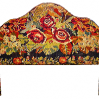 Queen Headboard With Vintage Floral Kilim