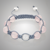 Rose Quartz White Gold Bracelet