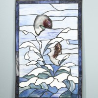 Splashing Fish Stained Glass WIndow
