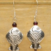 Sterling Silver Fish Earrings with Garnet Accent