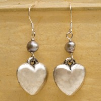 Sterling Silver Heart Earrings with Black Pearl Accent