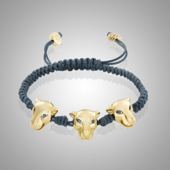 Three Headed 18k Gold Tiger Bracelet