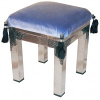 Velvet Top Moroccan Accent Stool