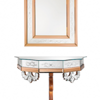 Walnut Mirrored Wall-Mount Console