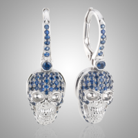 White Gold Sapphire Skull Earrings