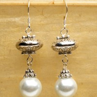 White Pearl Stack Earrings