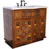 Wood Inlay Bathroom Vanity