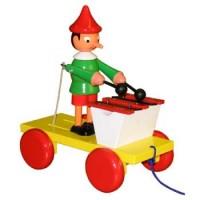 Wooden Pinocchio with Drum Pull Toy