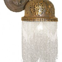 Beaded Brass Bell Wall Sconce