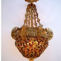 Colored Glass Pearl Byzantine Chandelier