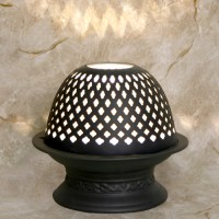 Etched Porcelain Votive Lamp