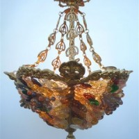 Glass Flowers Bronze Chandelier