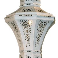 Lacy Shadows Tin Chandelier, white