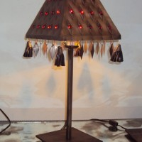 Large Red Jewels Pyramid Table Lamp