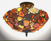 Natural Edge Tiffany Stained Glass Ceiling Light