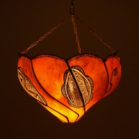 Orange Henna Painted Moroccan Lantern
