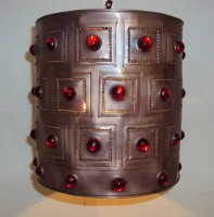 Red Jewel Barrel Pendant Light