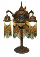 Triple Arch Beaded Brass Table Lamp