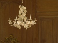 White Ivy Leaf Chandelier