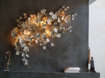 White Oxalis Leaf Sconce